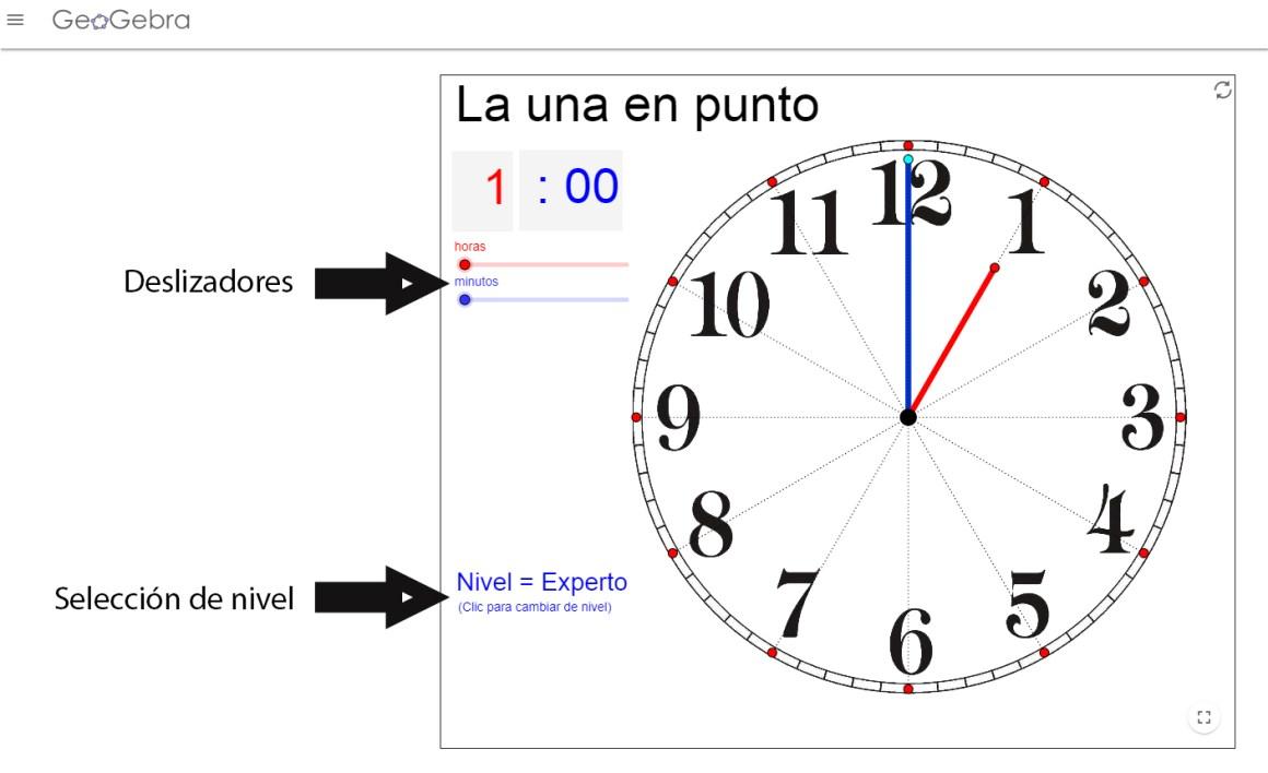 reloj geogebra para aprender las horas