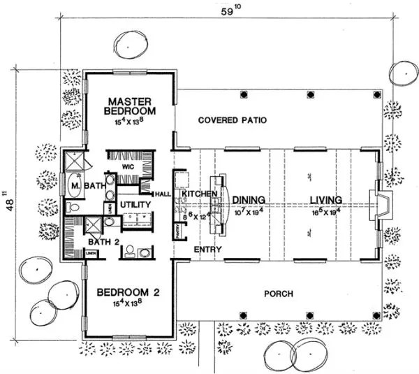 plano casa de 1 piso y 2 habitaciones