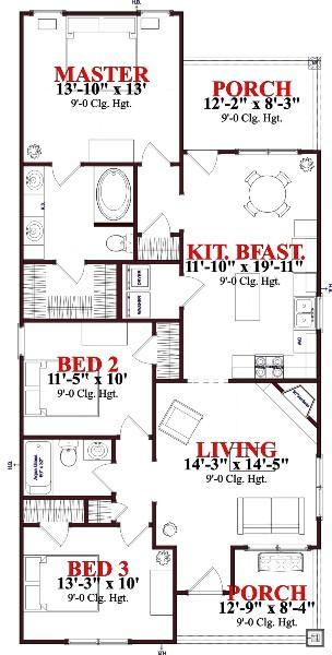 plano casa de 3 habitaciones