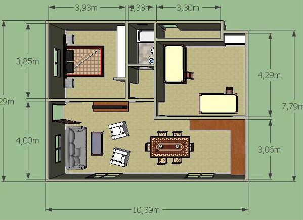 Casa de campo de un piso y dos habitaciones