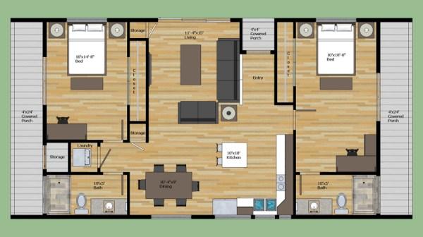 Casa moderna de dos dormitorios y 95 metros cuadrados for Casa moderna 90m2