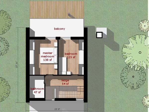 Moderna casa de dos pisos dos dormitorios y 66 metros for Piso 60 metros cuadrados