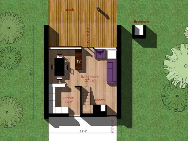 Moderna casa de dos pisos dos dormitorios y 66 metros for Casa minimalista de 6 metros