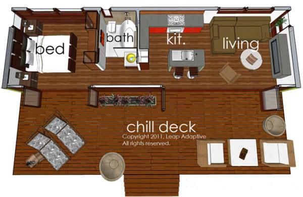 Casa de un dormitorio y 45 metros cuadrados planos de for Diseno de apartamentos de 45m2