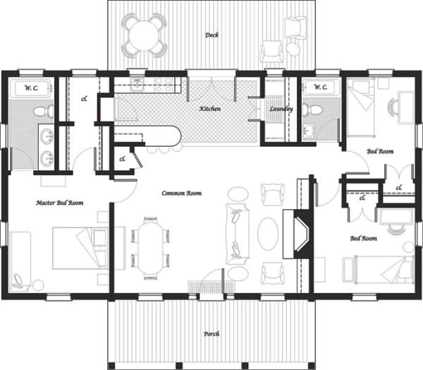 Casa de un piso tres dormitorios y 106 metros cuadrados for Planos para construir una casa de un piso