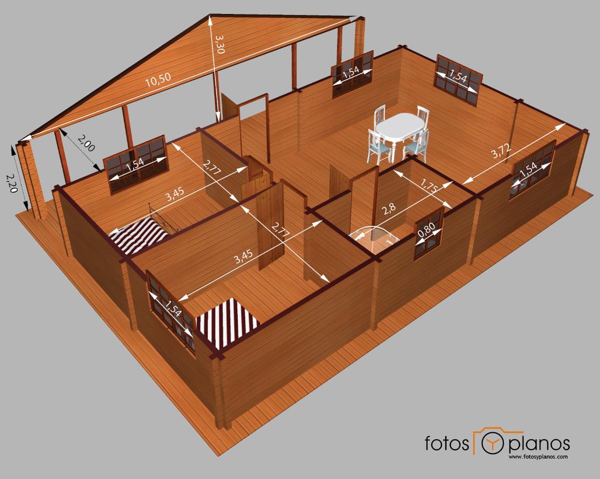 Casa de madera de dos dormitorios en 3d planos de casas - Planos en 3d de casas ...