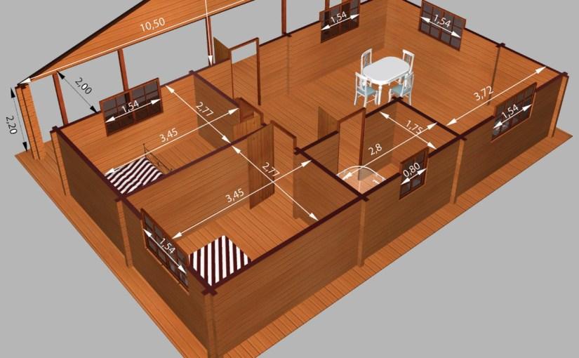 Casa de madera de dos dormitorios en 3D