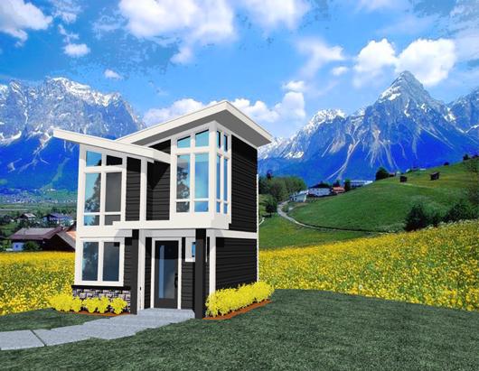Pequeña casa de un dormitorio, dos pisos y 47 metros cuadrados