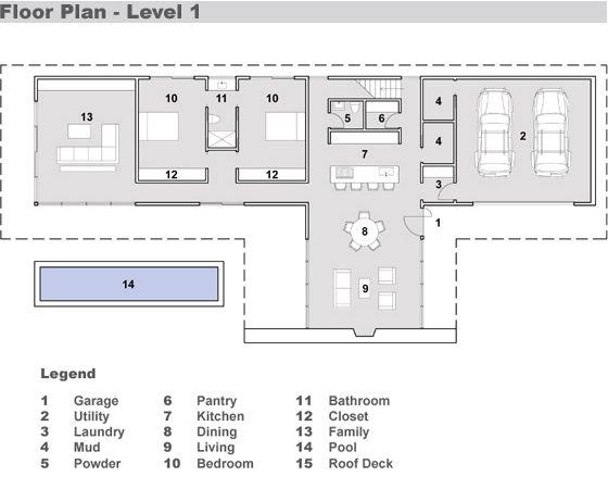 Moderna casa para country de 275 metros cuadrados planos - Casas planta baja modernas ...