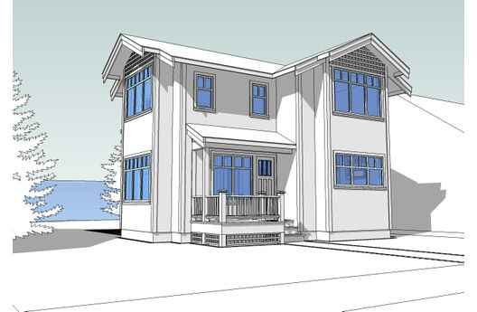 Casa de dos pisos, tres dormitorios y 102 metros cuadrados para construir en etapas
