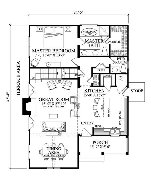 Casa americana de tres dormitorios y 164 metros cuadrados Planos de ...