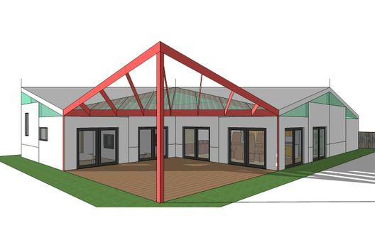 Casa moderna en 3D de un piso y dos dormitorios