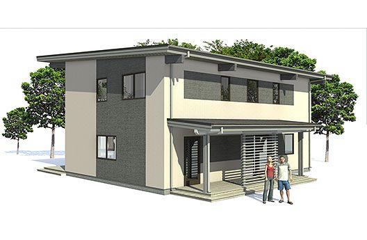 Moderna casa de 2 pisos y 138 metros cuadrados planos de for Viviendas modernas de una planta
