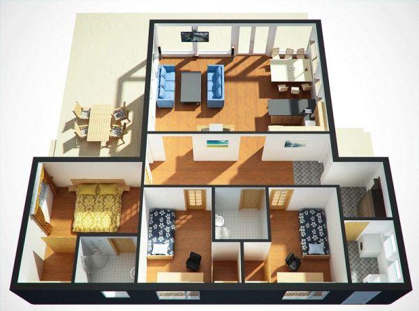 Casa en 3d de tres dormitorios y un piso planos de casas for Casa 3d gratis