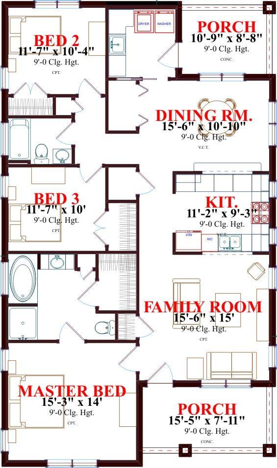 Muy comoda casa de una planta tres dormitorios y 145 for Cuarto de 6 metros cuadrados