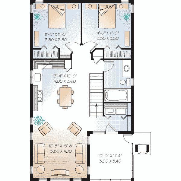 Bonita casa cuadrada de dos plantas dos dormitorios y 100 - Plantas para dormitorio ...