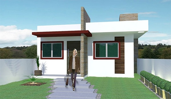 gallery of pequea casa moderna de una planta dos dormitorios y metros cuadrados with casas modernas pequeas