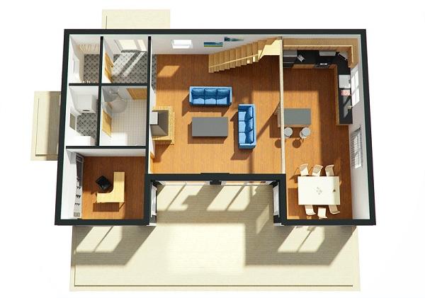 planos de casas de dos pisos monoambientes