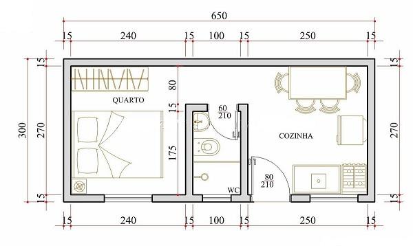 Diminuta casa de una planta un dormitorio y 20 metros for Diseno de apartamentos de 90 metros cuadrados