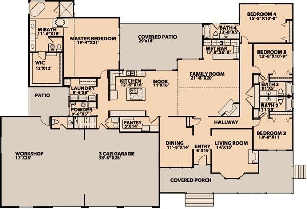 Gran casa americana de una planta cuatro dormitorios y - Casas americanas planos ...