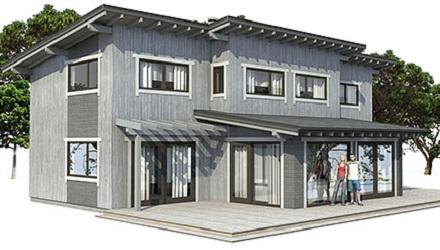 Moderna casa de dos pisos, tres dormitorios y 182 metros cuadrados