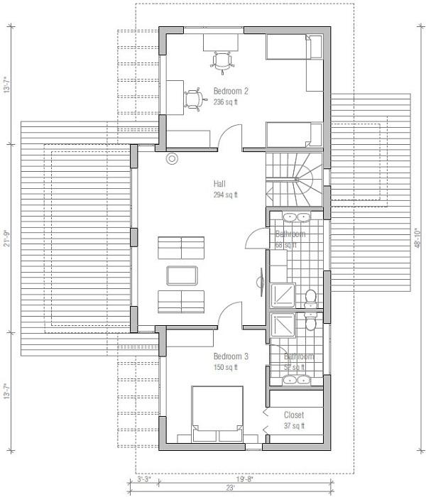 Moderna casa de dos pisos tres dormitorios y 182 metros for Casa moderna 50 metros cuadrados