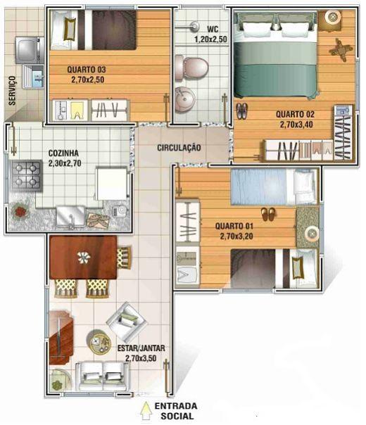 Casa popular de tres dormitorios en solo 51 metros for Planos de casas economicas de 3 dormitorios