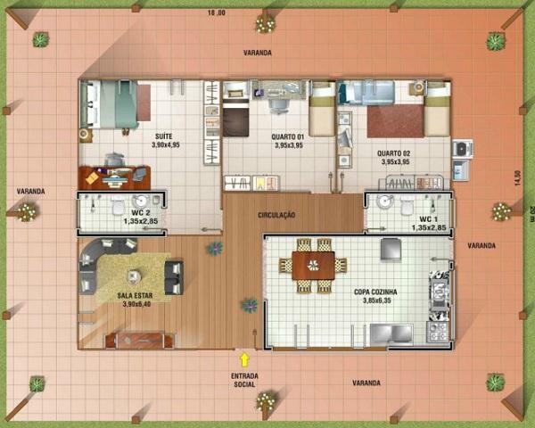 Plano de casa con gran galeria de una planta tres for Planos de casas economicas de 3 dormitorios