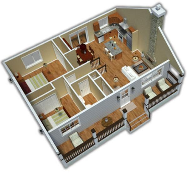 plano en 3 dimensiones de casa de una planta dos