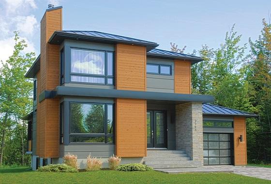 moderna casa de dos pisos tres y metros cuadrados