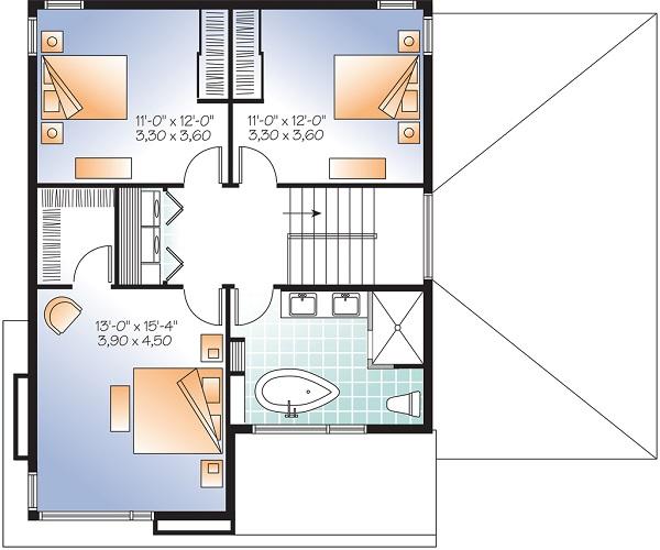 plano planta alta casa moderna de dos plantas y tres dormitorios