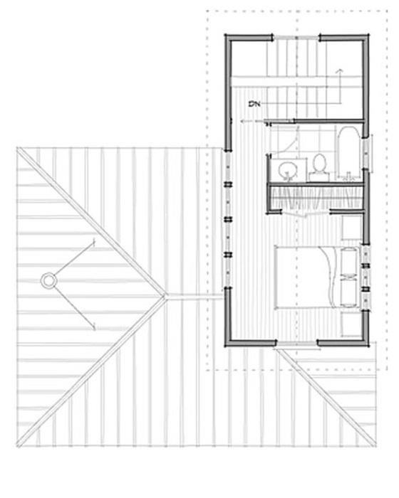 plano planta alta pequeña casa de un dormitorio y 72 metros cuadrados
