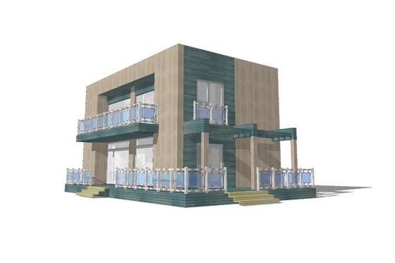 Plano de casa moderna de dos pisos, dos dormitorios y 120 metros cuadrados