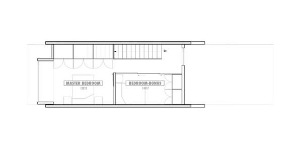 plano planta alta Casa de dos plantas y 62 metros cuadrados
