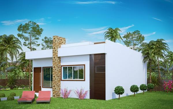 plano de pequea casa moderna de tres dormitorios y metros cuadrados