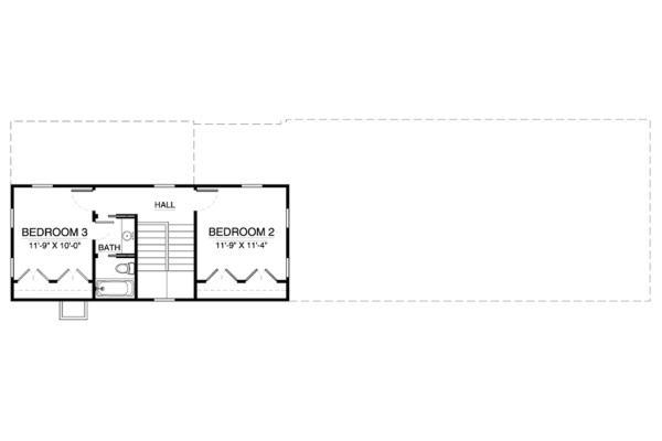 Plano planta alta casa colonial de tres habitaciones