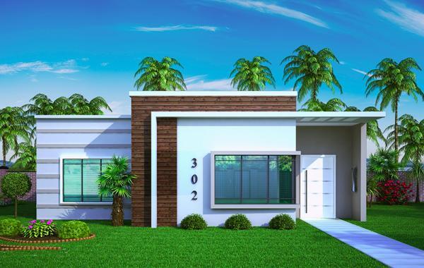 plano de casa pequea y moderna de tres dormitorios y metros cuadrados