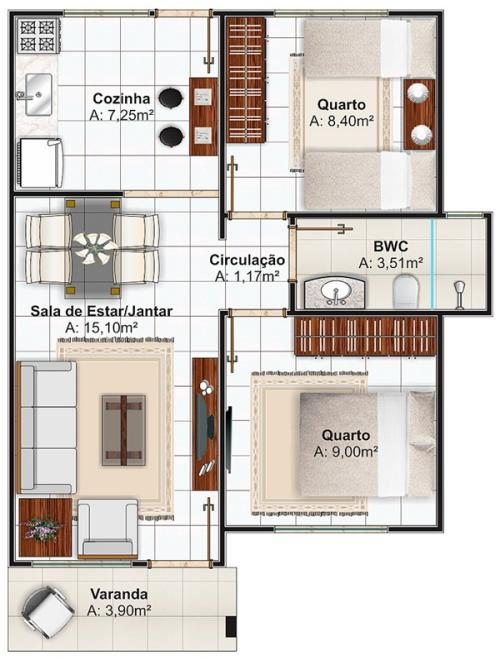 Plano de casas economica de dos dormitorios y 53 metros for Planos de casas de dos dormitorios