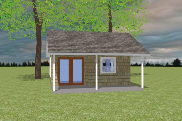 Plano de cabaña monoambiente de 19 metros cuadrados