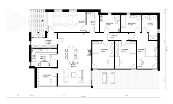 Plano de casa moderna de un piso tres dormitorios y 176 for Plano casa moderna 3 habitaciones