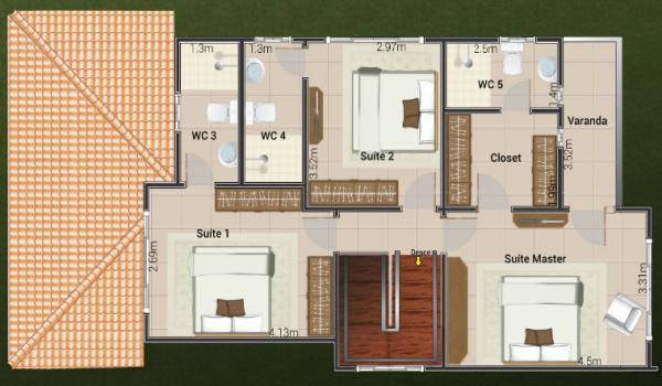 Plano de casa con tres suites en dos plantas y 154 metros for Planta arquitectonica con medidas