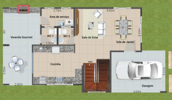 Plano de casa con tres suites en dos plantas y 154 metros for Comedor 30 metros cuadrados