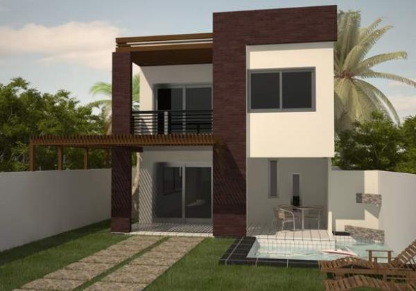 Plano de casa moderna de dos plantas tres dormitorios y for Dormitorio 10 metros cuadrados