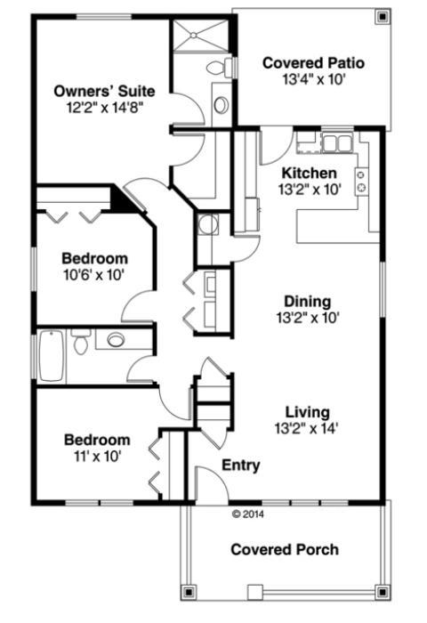 Tek katlı, üç yatak odalı ve 118 metrekarelik ev planı