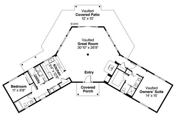 Çarpıcı tek katlı, iki yatak odalı ev planı