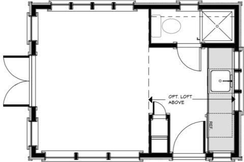 plano monoambiente de 18 metros cuadrados
