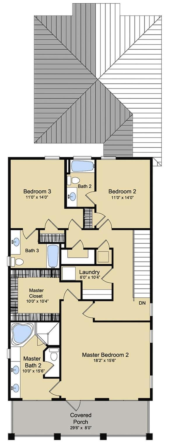 Plano planta alta casa de 268 metros cuadrados