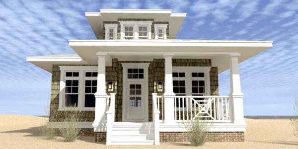 Plano de casa de madera de dos plantas, tres dormitorios y 183 metros cuadrados