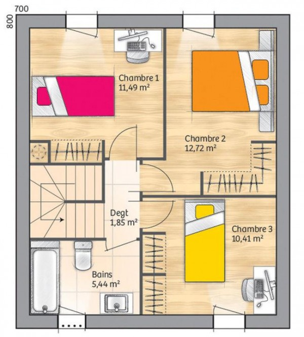 3 yatak odası ve 110 metrekare ile en üst kat planı dubleks