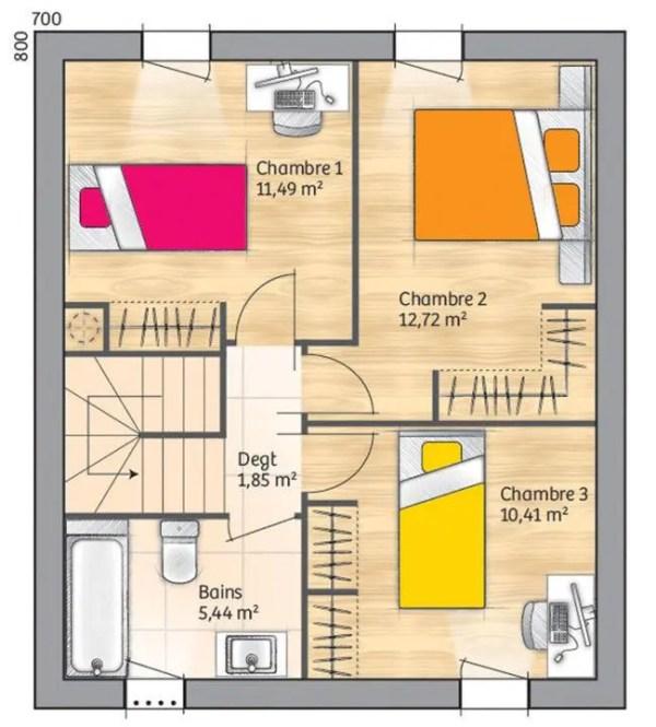 Plano planta alta duplex de 3 dormitorios y 110 metros cuadrados